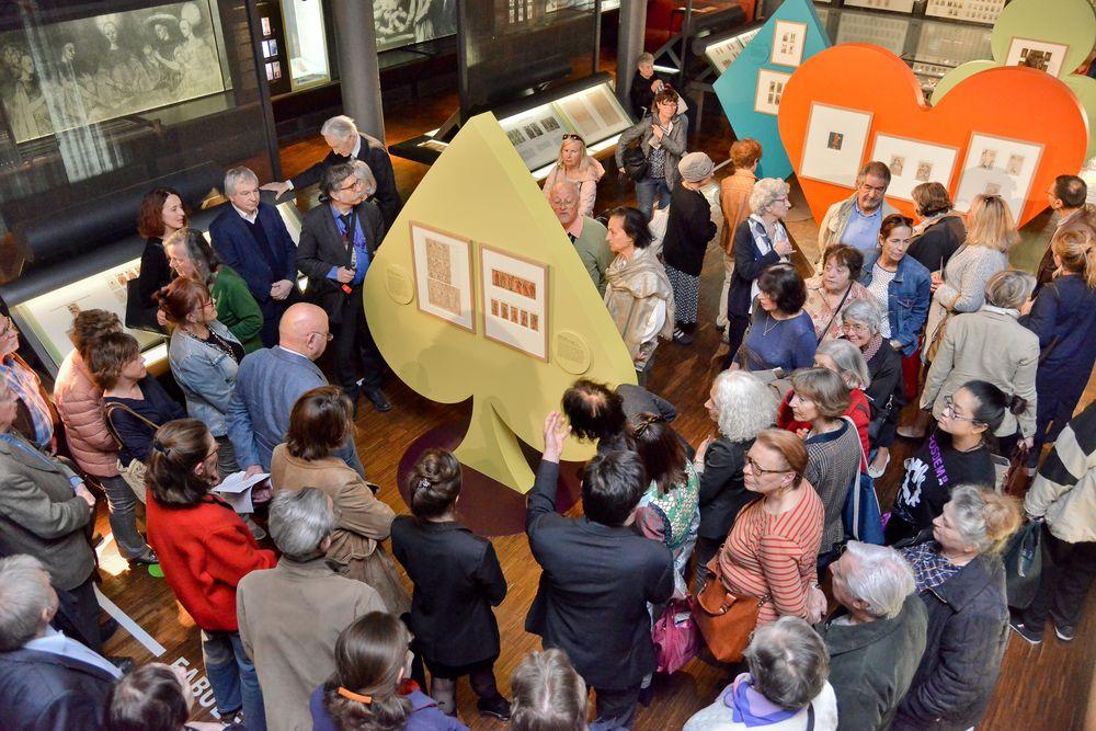 Vernissage de l'exposition au Musée Français de la Carte à Jouer le 14 mai 2019.
